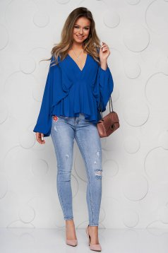 Blue women`s blouse from veil fabric with deep cleavage with elastic waist