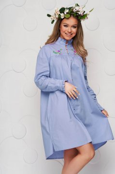 Blue dress loose fit poplin, thin cotton ruffled collar embroidered