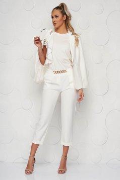 White women`s blouse loose fit short cut with ruffle details voile details