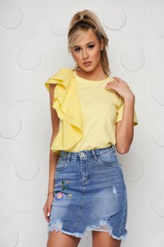 Yellow women`s blouse loose fit short cut with ruffle details voile details