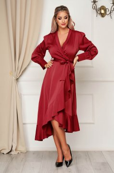 Burgundy dress elegant cloche wrap over front from satin fabric texture with ruffles at the buttom of the dress accessorized with tied waistband