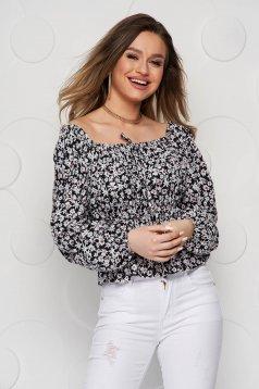 Bluza dama SunShine cu imprimeu floral din voal cu elastic in talie si la nivelul decolteului