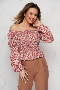 Bricky women`s blouse with floral print from veil fabric with elastic waist elastic cleavage