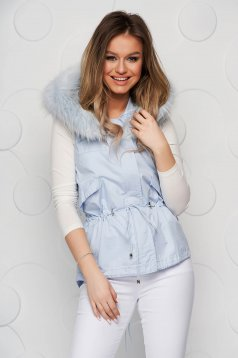 Blue gilet cotton is fastened around the waist with a ribbon with faux fur accessory
