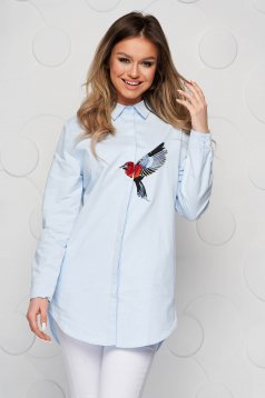Blue women`s shirt poplin, thin cotton loose fit with embroidery details