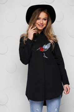 Black women`s shirt poplin, thin cotton loose fit with embroidery details