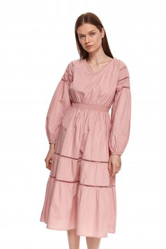 Poplin, thin cotton midi with puffed sleeves cloche with elastic waist lightpink dress