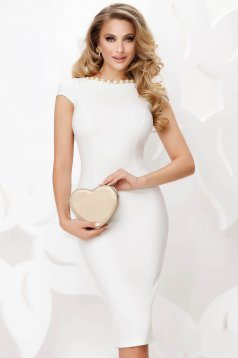 Ivory occasional midi pencil dress slightly elastic fabric with pearls