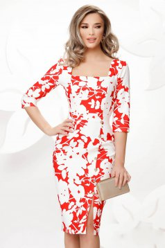 Red dress midi pencil office with deep cleavage with floral print