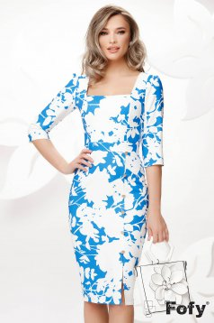 Blue dress midi pencil office with deep cleavage with floral print