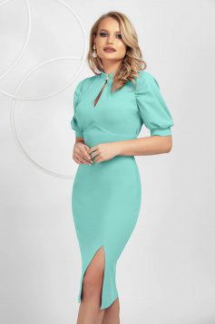 Mint dress pencil from elastic fabric with puffed sleeves frontal slit