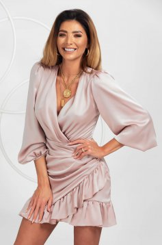 Lightpink dress from satin clubbing wrap over front with ruffle details