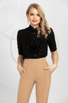 Black women`s shirt office airy fabric gold metal details with ruffle details