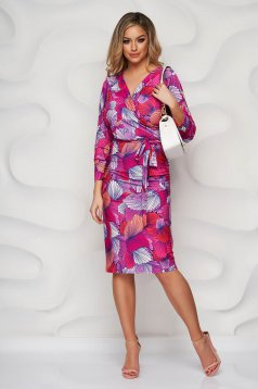 StarShinerS dress pencil with floral print wrap over front from elastic and fine fabric