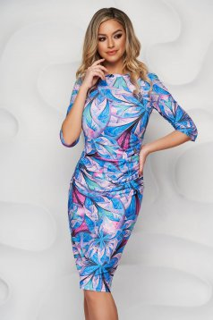 StarShinerS dress with floral print pencil midi from elastic fabric