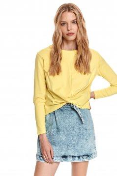 Loose fit neckline yellow women`s blouse