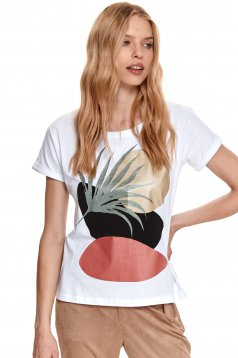 With graphic details loose fit elastic cotton white t-shirt