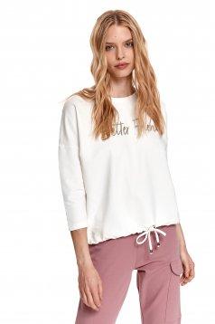 Bluza dama Top Secret alba din bumbac elastic cu croi larg cu imprimeuri grafice