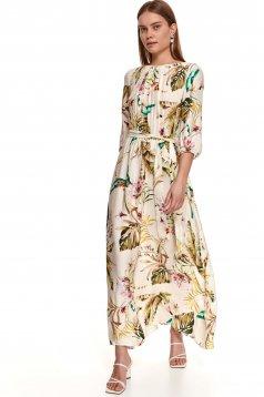 Rochie Top Secret crem lunga din material vaporos cu imprimeu floral accesorizata cu cordon