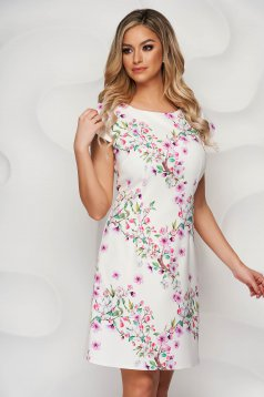 Dress from elastic fabric a-line with rounded cleavage with floral print