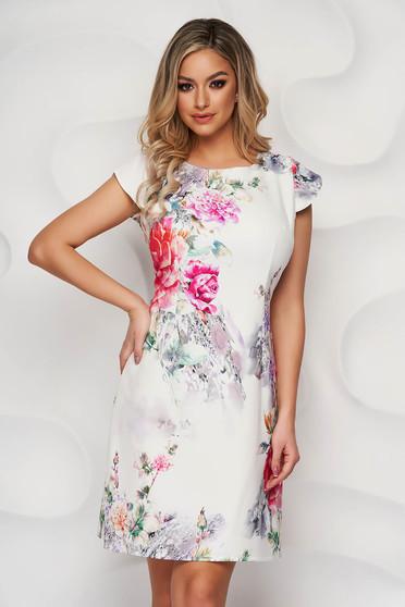 Rochie Lady Pandora cu imprimeu floral din material elastic cu croi in a cu decolteu rotunjit