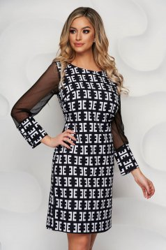 With graphic details office straight transparent sleeves dress