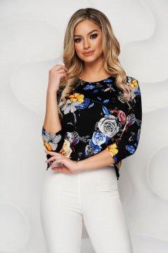 Bluza dama Lady Pandora neagra cu imprimeu floral din material elastic si fin cu croi larg