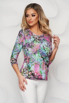 Pink women`s blouse loose fit from elastic and fine fabric