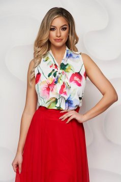 StarShinerS ivory women`s blouse with floral print airy fabric