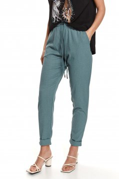 Mint trousers airy fabric wrinkled texture conical with elastic waist