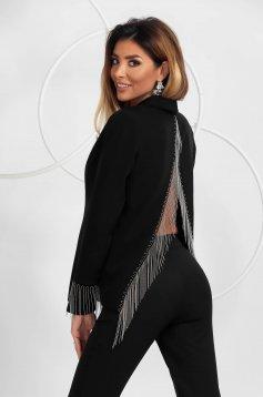 Black jacket loose fit elegant with fringes with padded shoulders