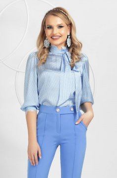 Lightblue women`s blouse from satin fabric texture with lace details