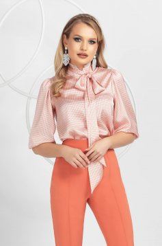 Coral women`s blouse from satin fabric texture with lace details