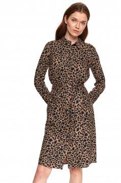 Peach dress straight thin fabric with pockets