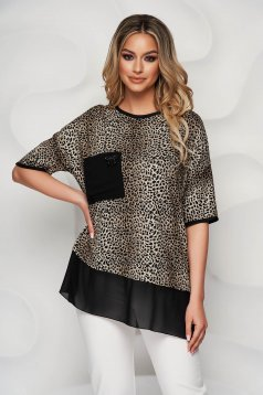Women`s blouse animal print from elastic and fine fabric voile details loose fit