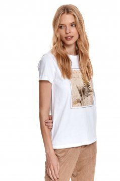 White t-shirt cotton with graphic details loose fit