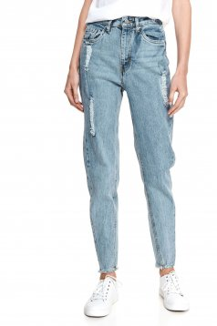 Lightblue trousers denim conical small rupture of material
