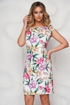 StarShinerS dress short cut pencil elegant short sleeves with floral print