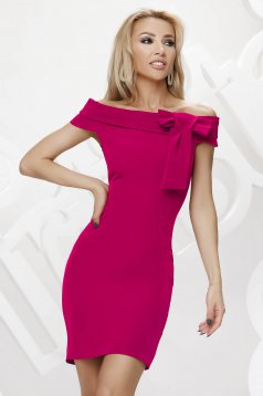 Fuchsia dress occasional short cut bow accessory on the shoulders
