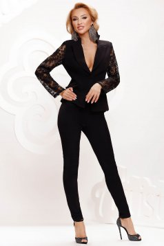 Black lady set with laced sleeves elegant arched cut
