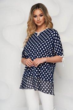 Bluza dama Lady Pandora din material elastic si fin insertii de voal cu croi larg