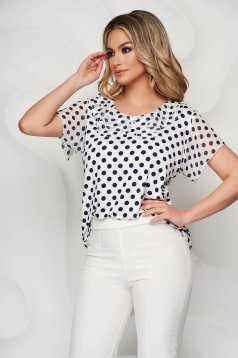Women`s blouse dots print airy fabric frilly trim around cleavage line