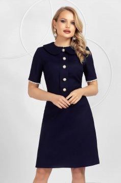 Darkblue dress cotton short cut with button accessories