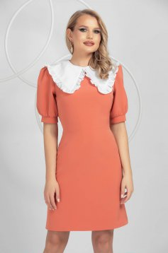 Coral dress a-line with puffed sleeves ruffled collar