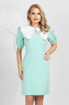 Mint dress a-line with puffed sleeves ruffled collar