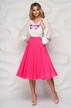 StarShinerS fuchsia skirt elegant midi cloche from veil fabric high waisted