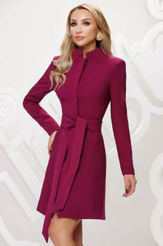 Raspberry overcoat tented short cut elegant accessorized with tied waistband bow accessory