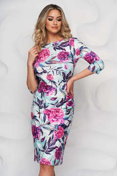 StarShinerS dress midi pencil from elastic and fine fabric slightly wrinkled fabric office with floral print