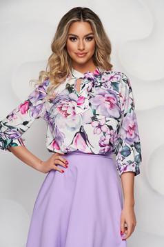 Bluza dama StarShinerS office din material vaporos cu guler tip esarfa si imprimeu floral unic
