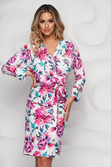 StarShinerS dress with floral print from elastic fabric wrap over front
